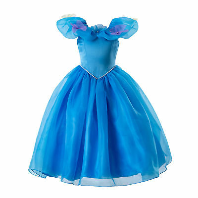 Girls Cinderella Princess Cosplay Costume Kids Halloween Party Fancy Dress 3-7Y