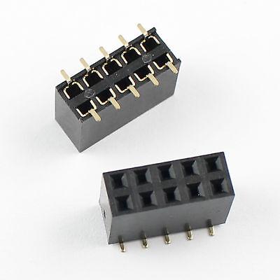 100pcs 2.54mm Pitch 2x5 Pin 10 Pin Female Smt Double Row Pin Header Strip