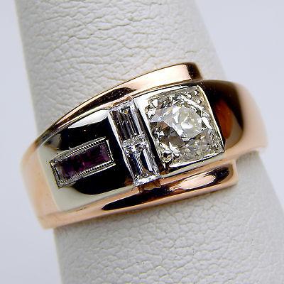 Retro Art Diamond & Ruby Ring 14 kt Rose & White Gold c. 1940's Size 7 #A1248