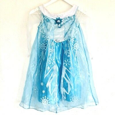 Disney Frozen Dress Gown Queen Elsa Blue Snowflake Dress Up Costume Girls 4-6X
