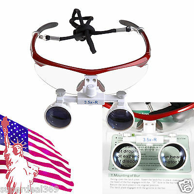Usa Dental Optical Binocular 3.5x Loupes Glasses For Led Head Light Lamp Red S