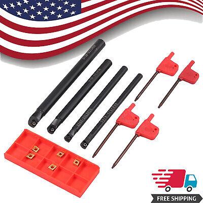 4x Lathe Boring Bar S07ks08ks10ks12m-sclcr06 Cnc Turning Tool4x T8 Wrenches