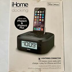 iHOME Docking lightning connector Fm Stereo Clock Dual Charge iPhone 6 / 6 Plus