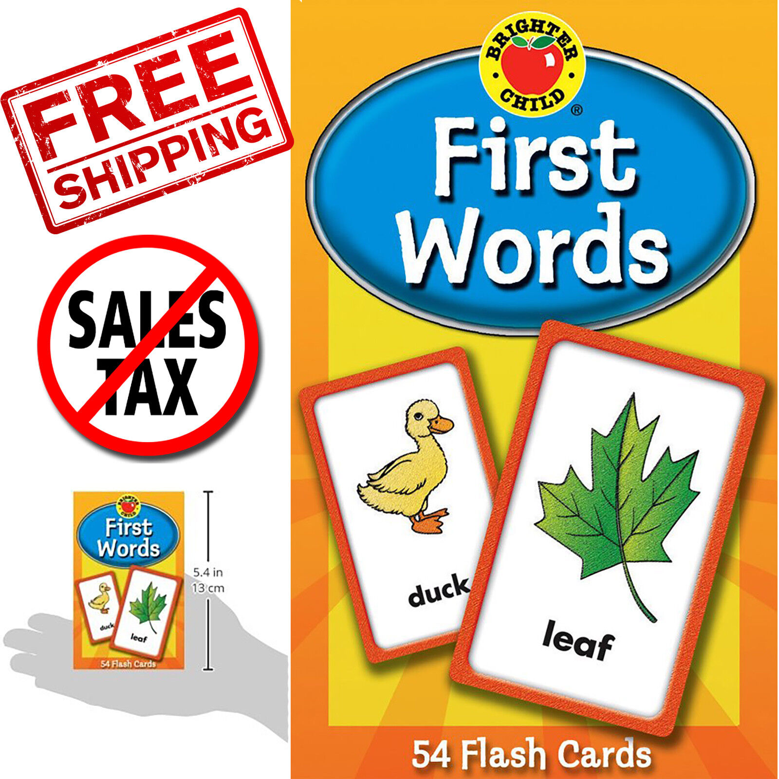 Abc Kids First Words Flash Card Learning Brighter Child Flashcards