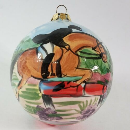 "Hand Painted Horse and Rider Christmas Ornament 12"" Circumference Signed FP"