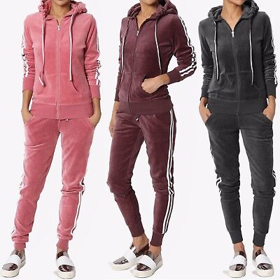 - TheMogan Loung Striped Long Sleeve Zip Up Hoodie Velour Jacket Or Jogger Pants