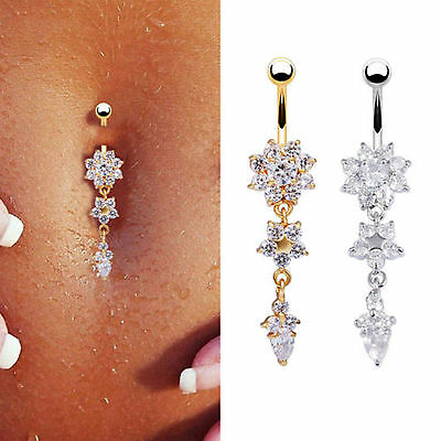 - Navel Belly Button Rings Crystal Flower Dangle Bar Barbell Body Piercing Jewelry
