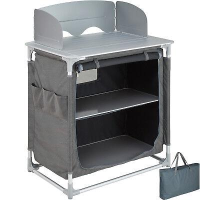 Campingküche Alu Küchenbox Campingschrank Faltschrank faltbar Windschutz Kochen Camping Küche