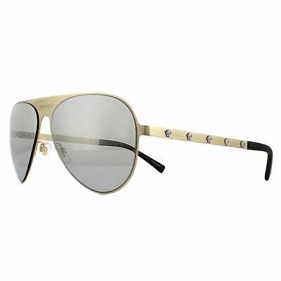 Versace Sunglasses VE2189 13396G Pale Gold Frame W/ Light Grey Mirrored Lens