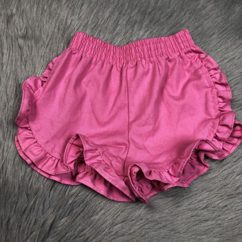 Vintage Toddler Girls 80s Healthtex Solid Pink Ruffle Shorts