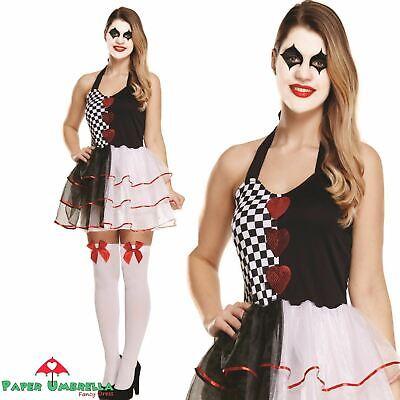 Damen Harlekin Hofnarr Damen Halloween Kostüm Evil Clown -