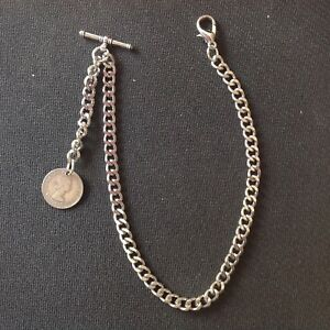 New silver colour Albert pocket watch chain with clasp,t-bar and sixpence ER II