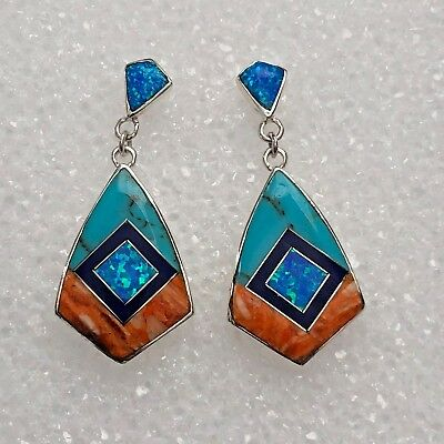 Sterling Silver Inlay Multi-Stone Diamond Kite Shape Turquoise Post Earrings
