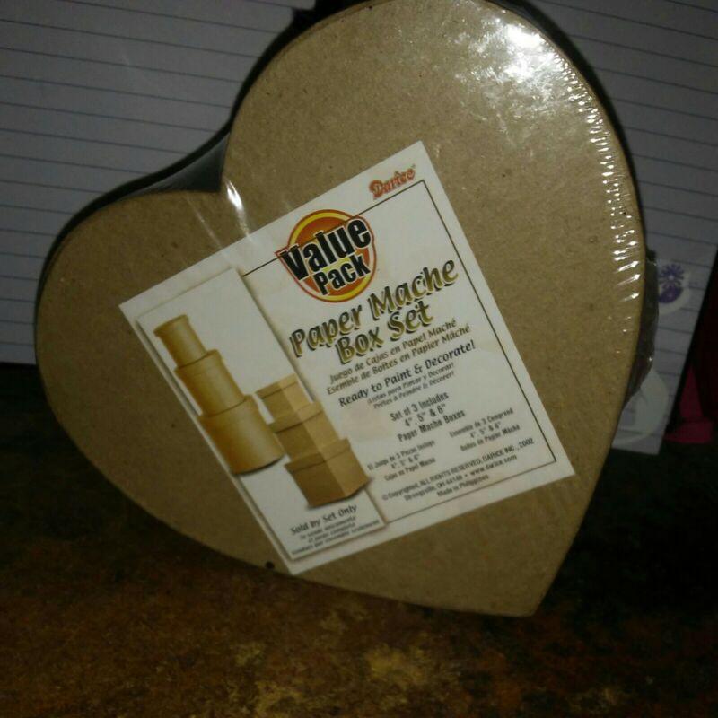 "Darice Paper Mache Box Set Heart Shape 3pcs 4"",5,""6"""