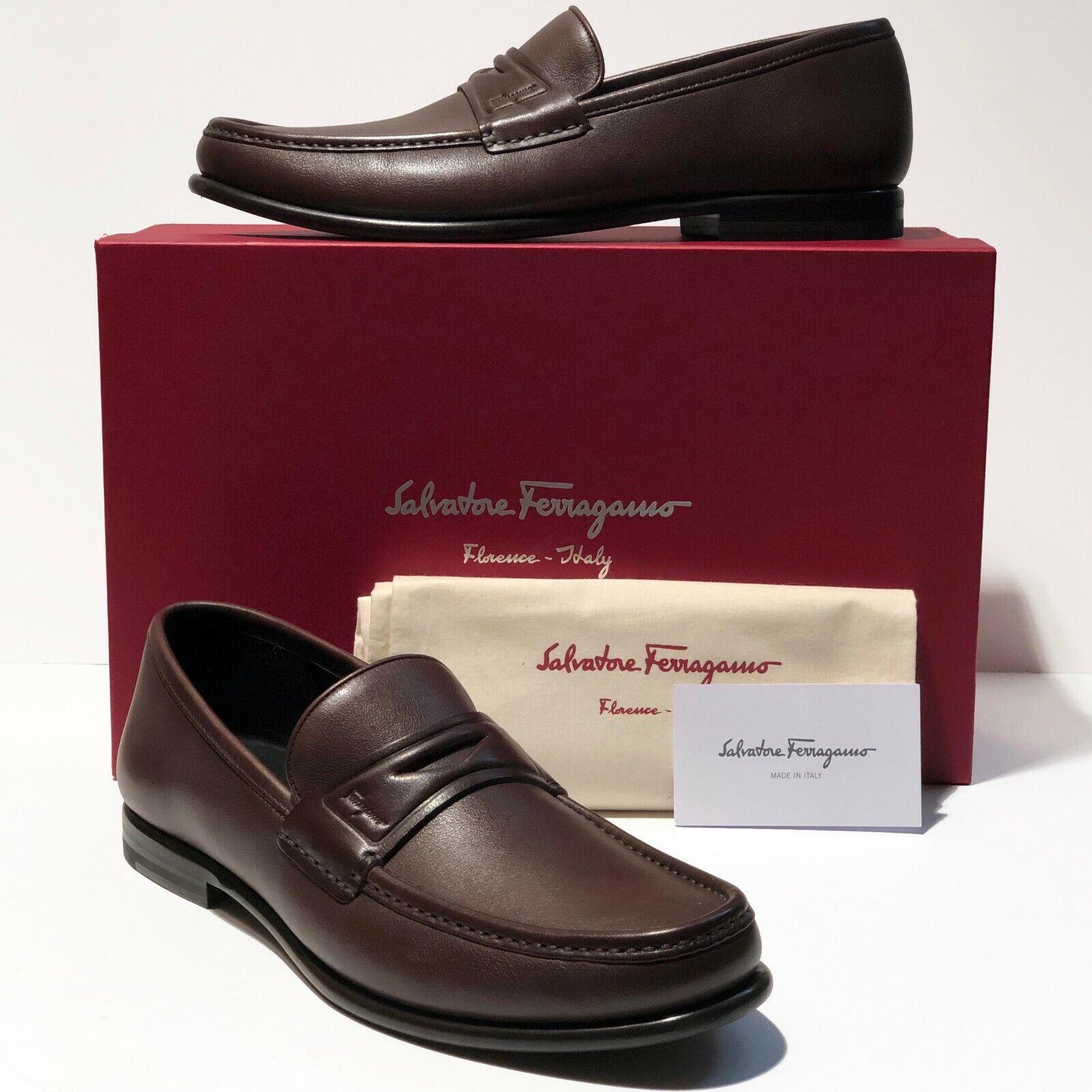 NIB Ferragamo Penny Loafers 8 D 41 Men's Brown Leather Dress