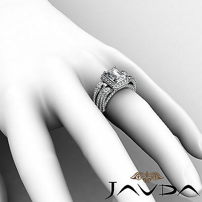 3 Row Shank Radiant Diamond Engagement Pave Ring GIA G Color SI1 Clarity 2.7 Ct 5