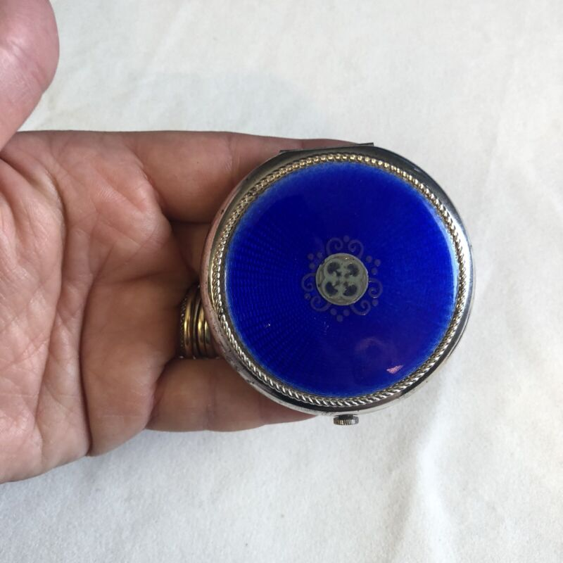 Vintage Revlon Ultima Guilloche Compact, Royal Blue
