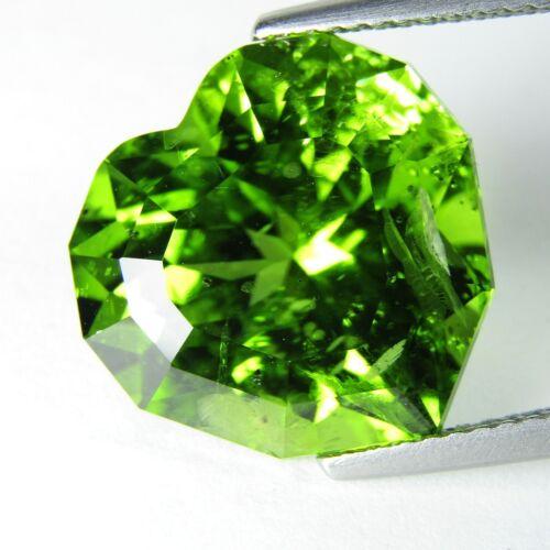 11.93Cts Classic Natural Green Peridot  Heart Custom Cut Loose Gem Ref VDO