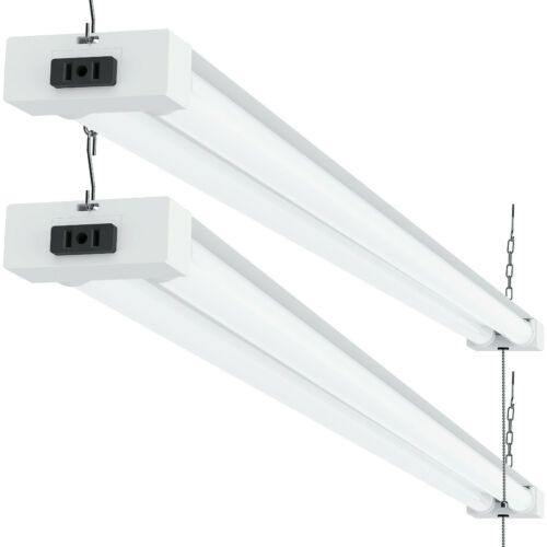Sunco 2 Pack Frosted LED Utility Shop Light 40W (260W) 5000K Daylight 4100 lm