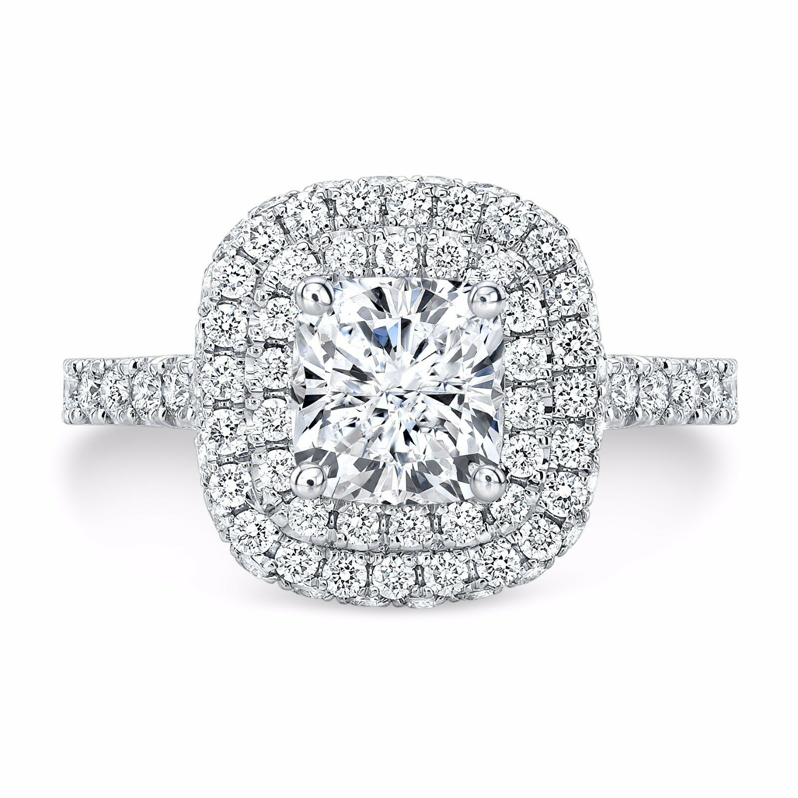 2.40ctw Natural Cushion Double Halo U-Prong Diamond Engagement Ring - GIA 2