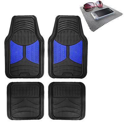 Universal Fitment Floor Mats for Auto Car SUV Van Rubber Blue Black w/ Dash Mat