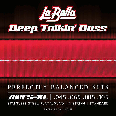 La Bella 760FS-XL Extra Long Scale Deep Talkin' Bass Stainless Steel Flatwound B Extra Long Scale