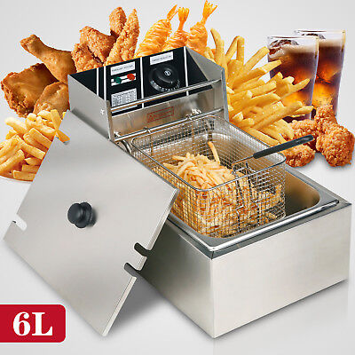6l Electric Deep Fryer Commercial Tabletop Restaurant Frying Basket Scoop 2500w