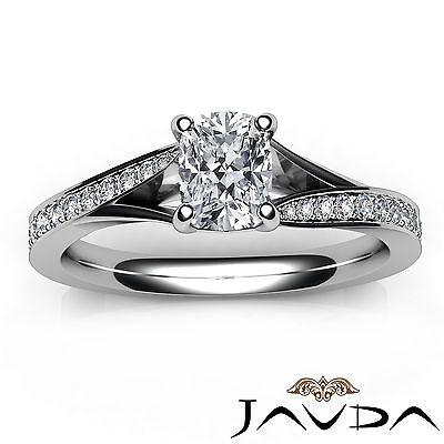 Split Shank Pave Setting Cushion Shape Diamond Engagement Ring GIA F VS1 0.68Ct 3
