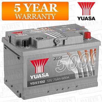 Car Battery YBX5100 Calcium Silver Case SMF SOCI 12V 680CCA 75Ah T1 by Yuasa