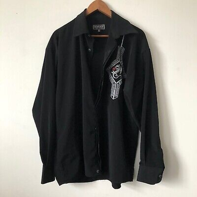 Vintage Versace jeans couture black embroidered shirt size XL