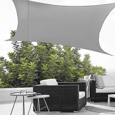 [en.casa] Sun Shade Sail UV Block Water Repellent Rectangular 4m x 6m Light Grey