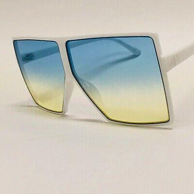 Design Women's Men's Sunglasses White Frame Green Lens Large Big Huge Square (Big White Sunglasses)