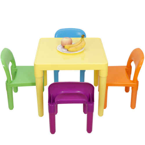 Plastic Kids Table And 4 Chairs Set For Boys Or Girls Toddler Reading Writing Furniture