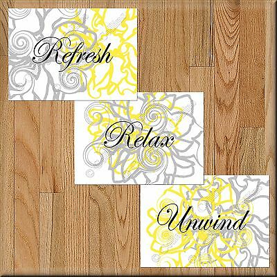 Yellow Gray Bathroom Wall Art Picture Prints Floral Decor Relax Refresh Unwind