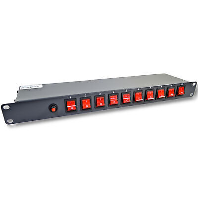 """10 Outlets 15A 125V Power Strip 19"""" 1U Rack Mount PDU Surge Protector and Switch"""