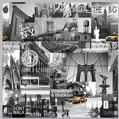 Muriva Wallpaper 102514 - New York Big Apple Iconic Photos Black / White NEW!!!