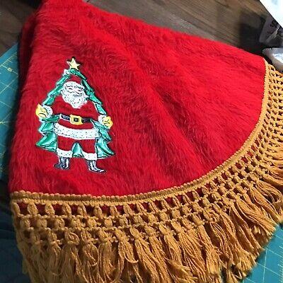 "Vintage SANTA CLAUS CHRISTMAS TREE SKIRT Red Fur GoldenFringe Vinyl Applique 36"""