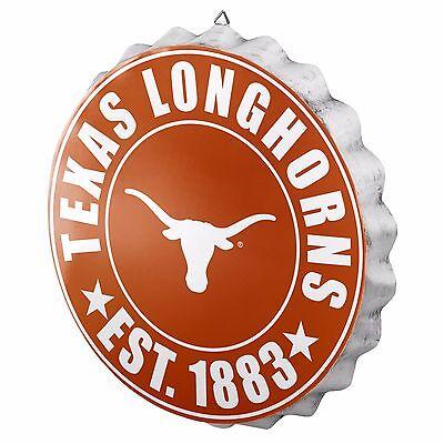 Texas Longhorns Bottle Cap Sign - Est 1883 - Room Bar Decor NEW 13.5