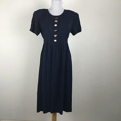 80s Dresses | Casual to Party Dresses Vintage 1980s Dress Size M Blue Short Sleeve Floral Modest Acetate Blend $8.55 AT vintagedancer.com
