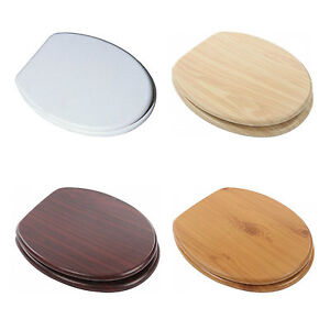 18 BATHROOM WC TOILET SEAT MDF PP UNIVERSAL WOODEN Or PLASTIC WITH FITTING