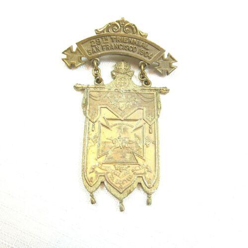 1904 Knights Templar 29th Triennial Conclave Medal San Francisco St. Omer Boston