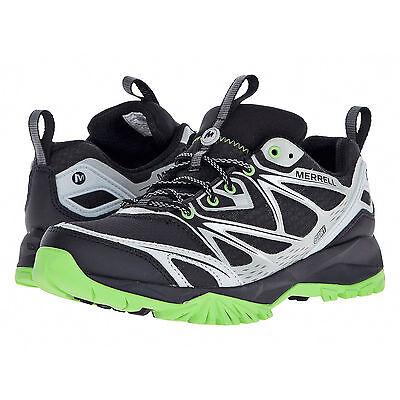 New  130 Merrell Capra Bolt Waterproof Mens Trail Hiking Shoes   Black   Green