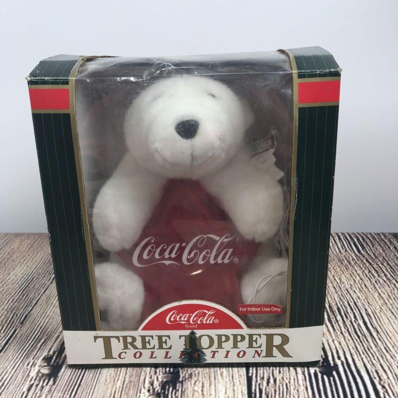 Vtg Coca Cola Coke Xmas Polar Bear Tree Topper Decoration Light Star Ornament
