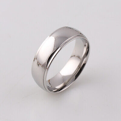 Mens Gents Sparkling Tungsten Carbide 8mm Wedding Band Ring 18Ct White Gold Over Over Tungsten Mens Ring