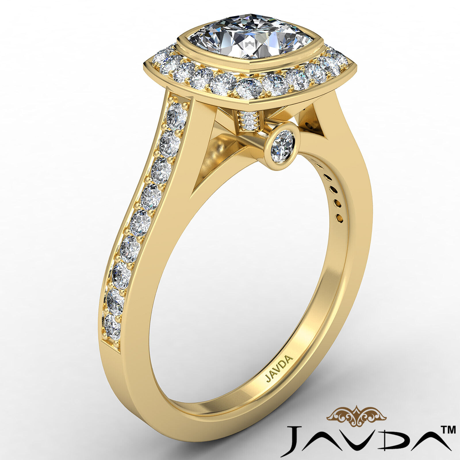 Micro Halo Cushion Diamond Engagement Ring GIA H Color & VS1 clarity 1.4 ctw 4