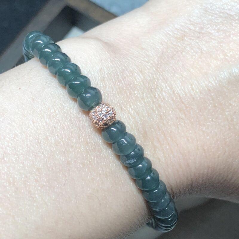 5.7 mm Grade A Icy Translucent Blue Water Green Flat Bead Jade Bracelet