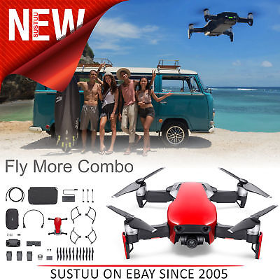 DJI Mavic Air FM Combo Portable Drone with Controller & Accessory│UK│Flame Red