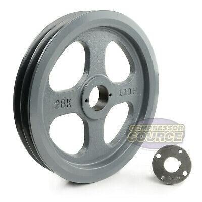 Cast Iron 10.75 2 Groove Dual Belt B Section 5l Pulley With 1 Sheave Bushing