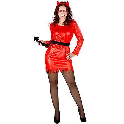 Sexy Devil Lady Kostüm Karneval Fasching Halloween Teufelin Damen Kleid Teufel