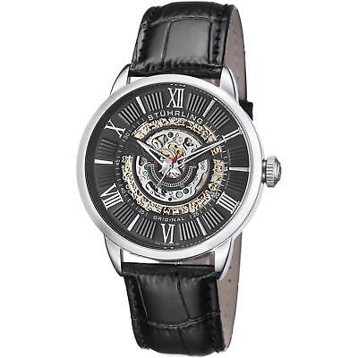 Stuhrling Delphi 696 Men's 44mm Automatic Black Calfskin krysterna Watch 696.02